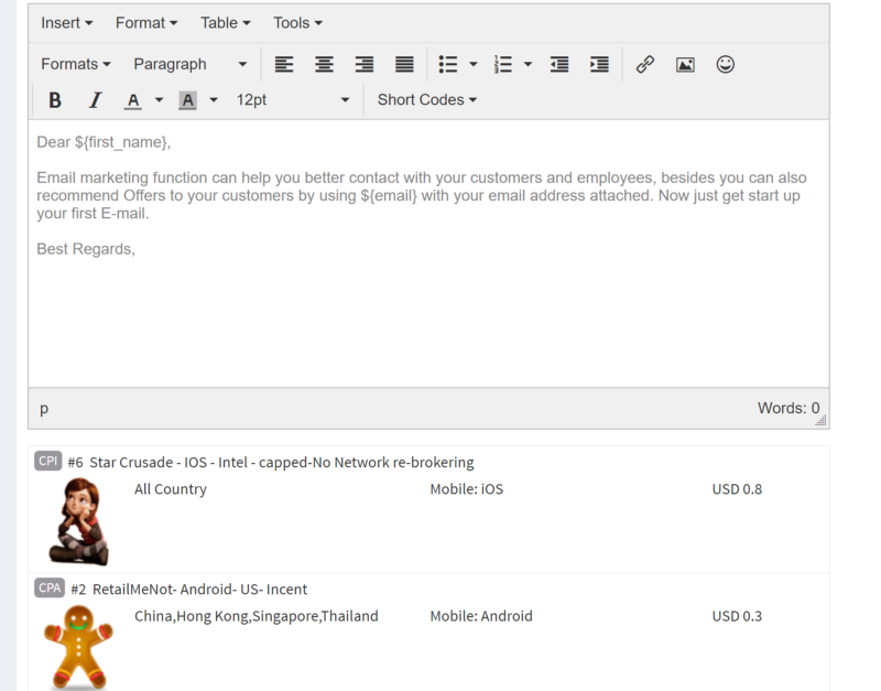 Adding texts and offers to the email