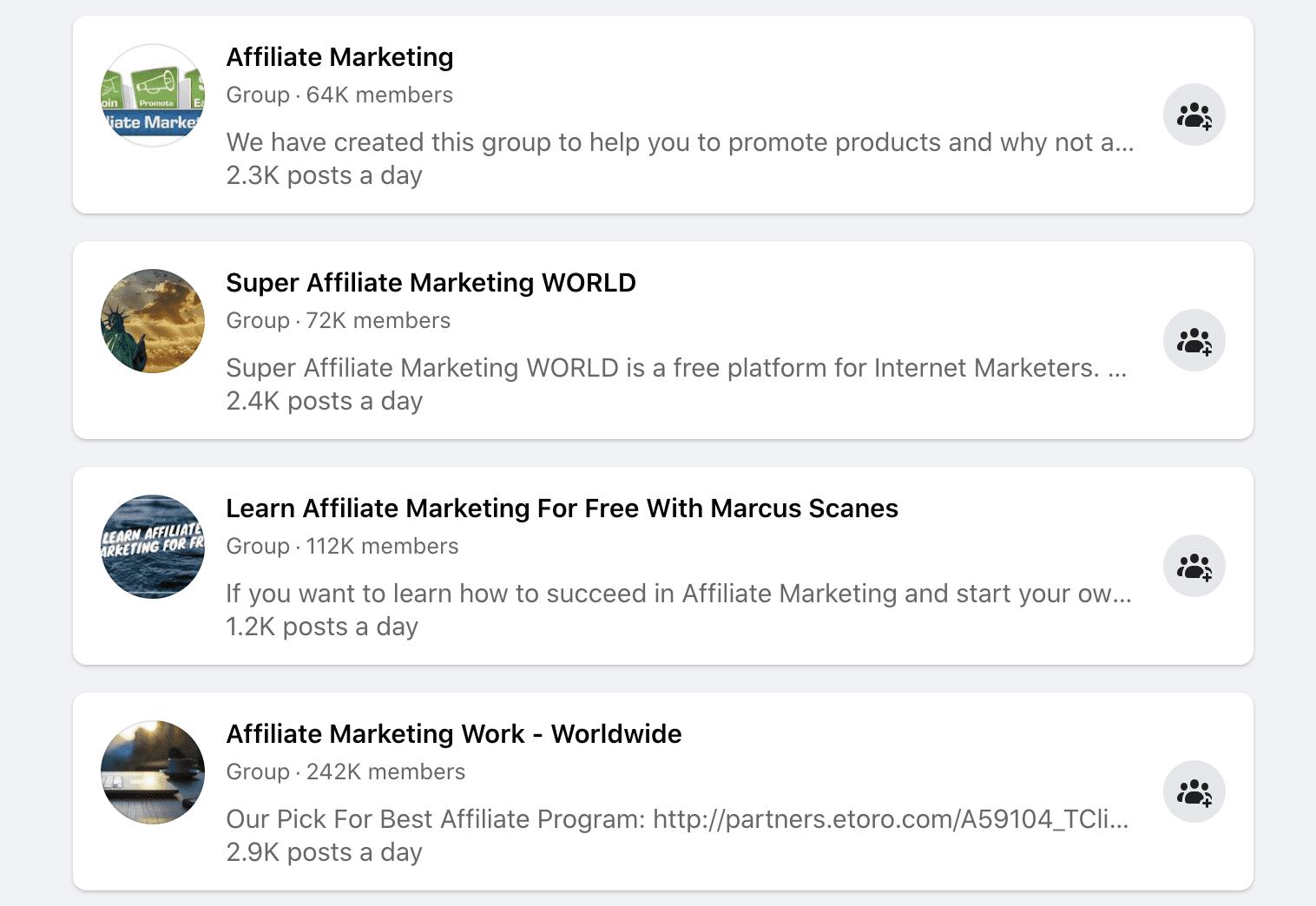 Facebook Affiliate Groups