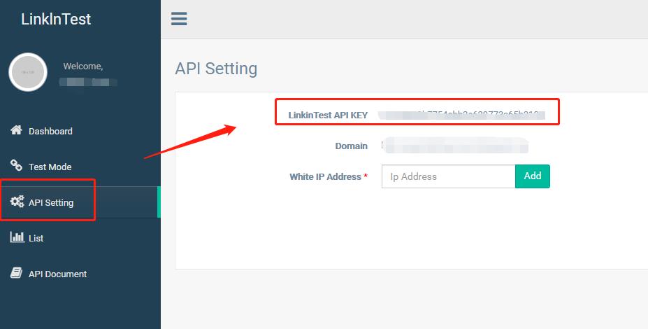 Linkintest API Setting