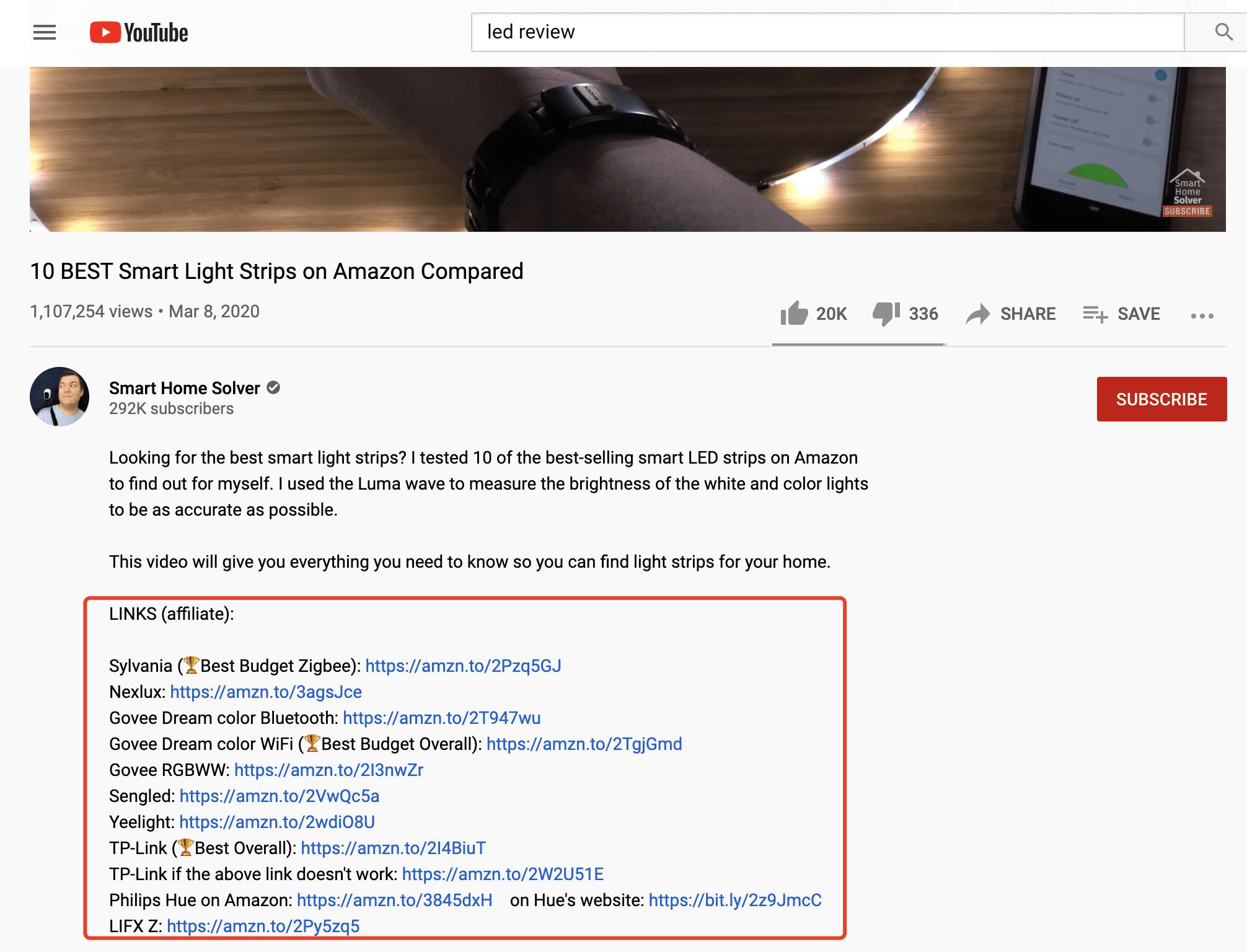 Affiliate Links into YouTube Description