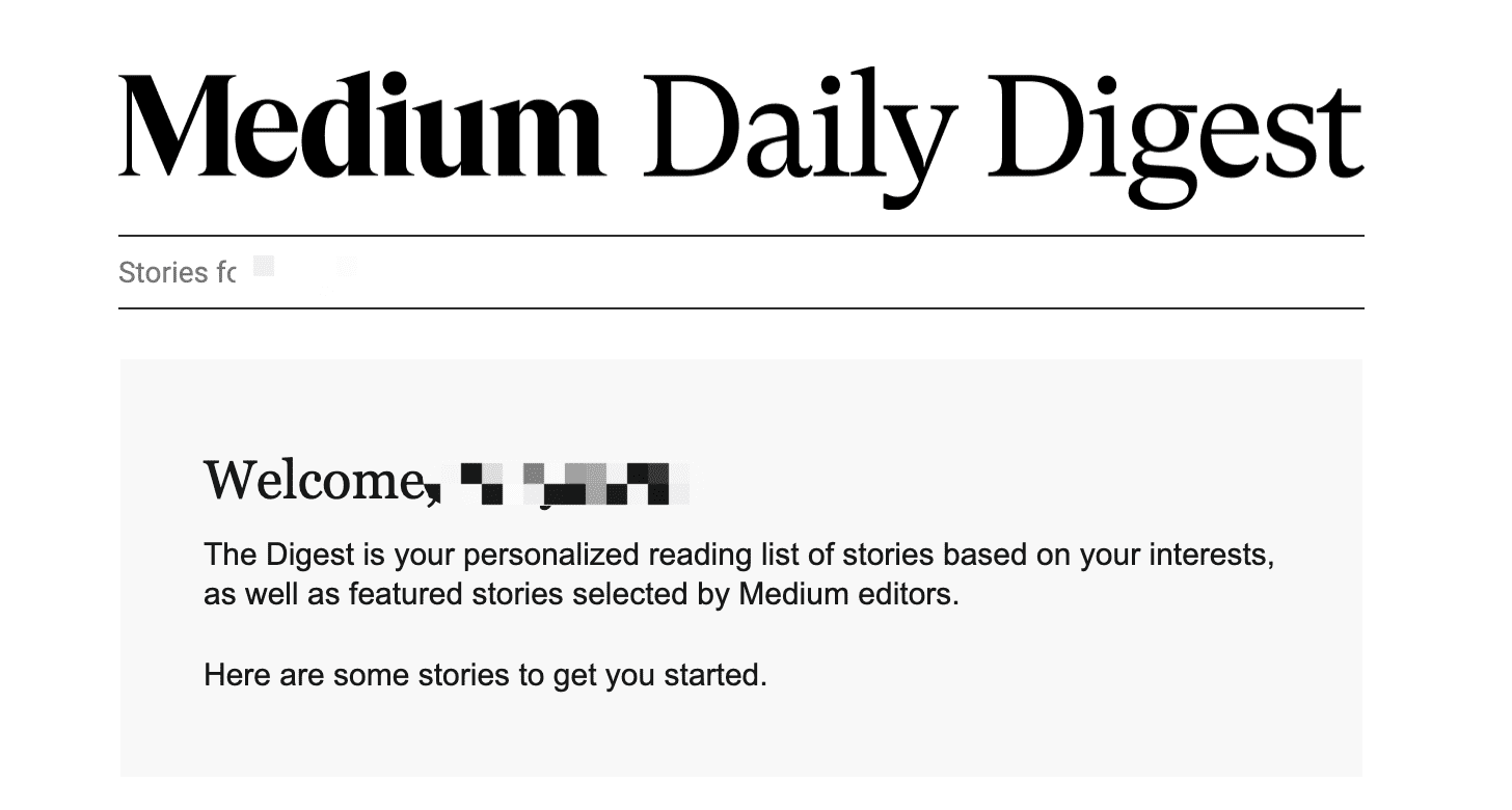 Medium Welcome Email