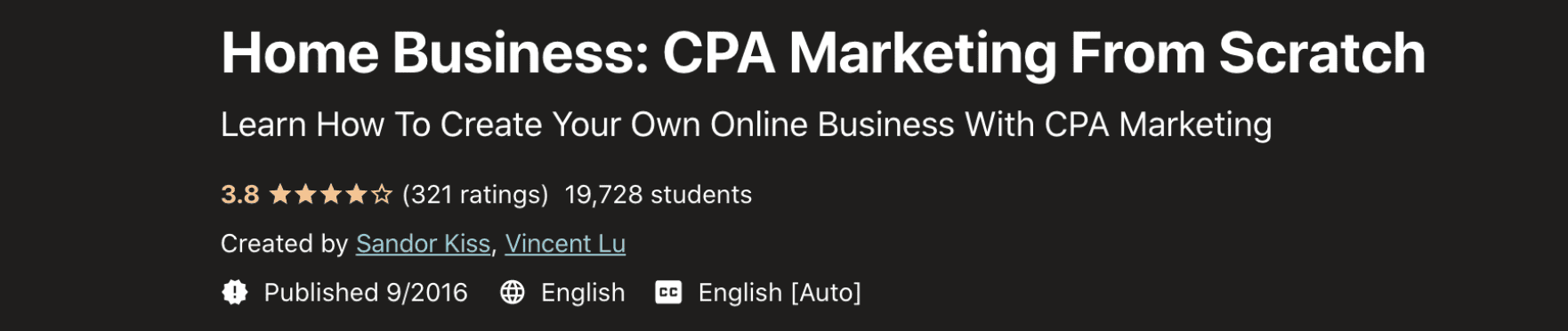 Home Business- CPA Marketing From Scratch