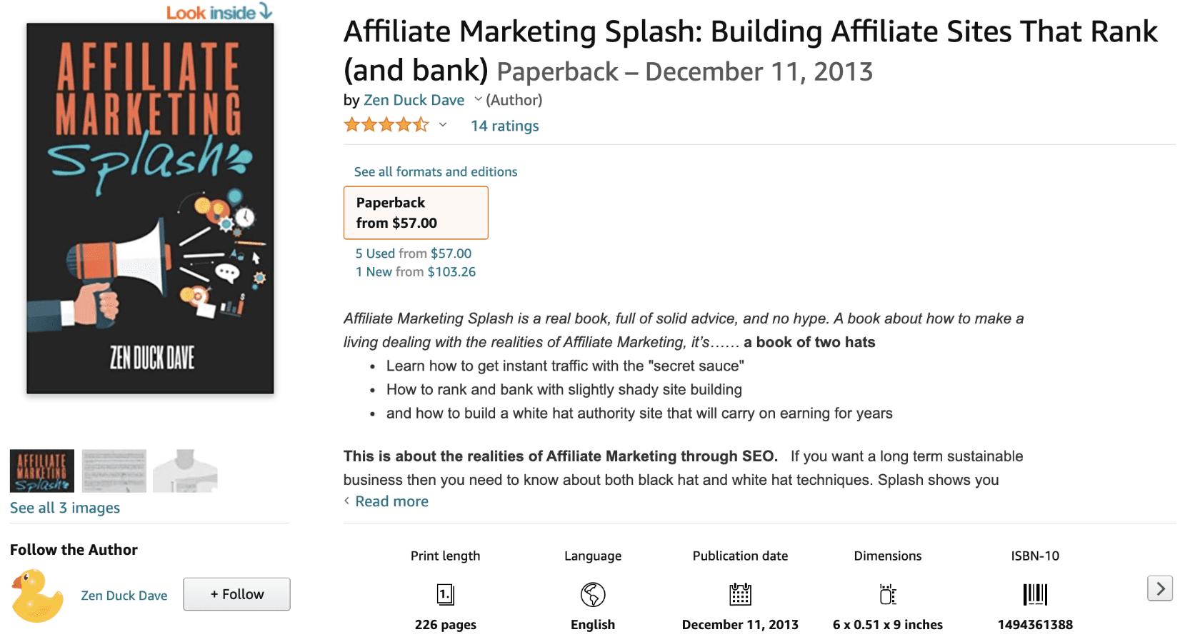 Affiliate Marketing Splash by Zen Duck Dave