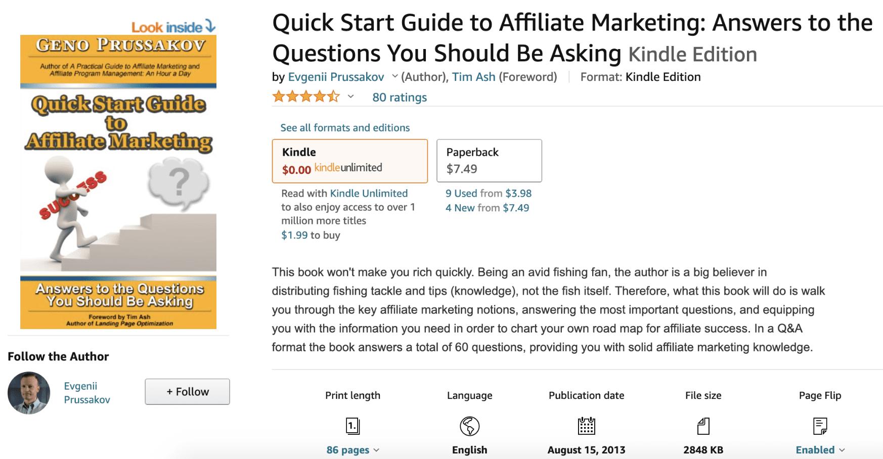 Quick Start Guide to Affiliate Marketing by Evgenii Prussakov