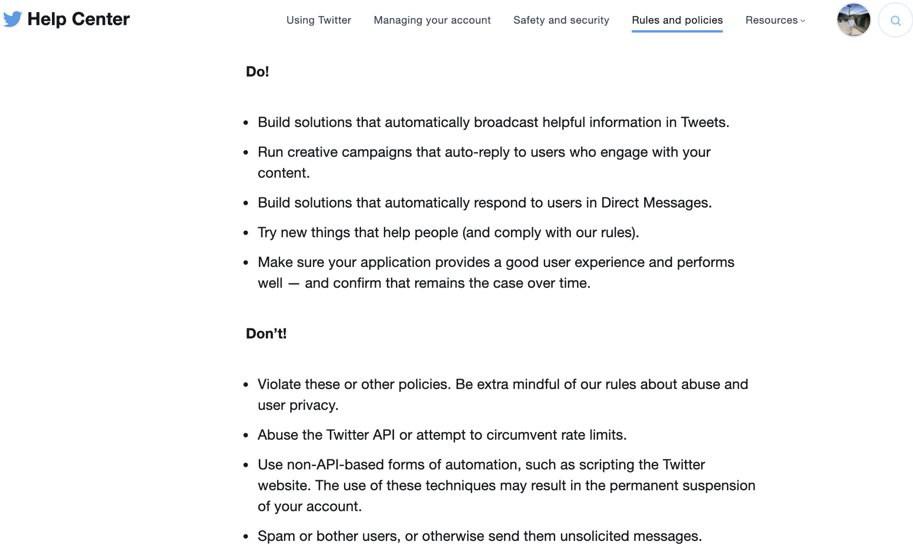 Twitter's Automation rules